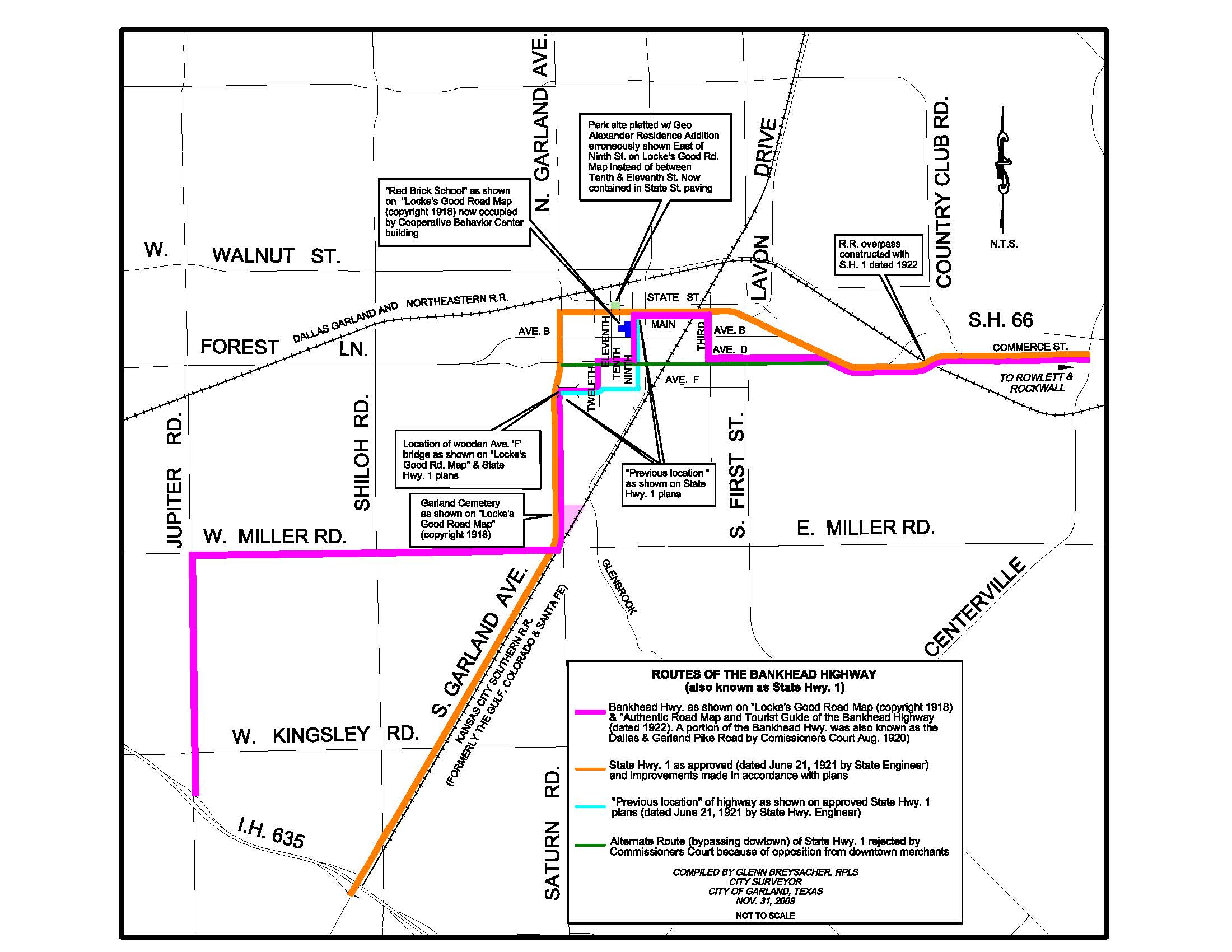 Map of Bankhead Highway Going through Garland