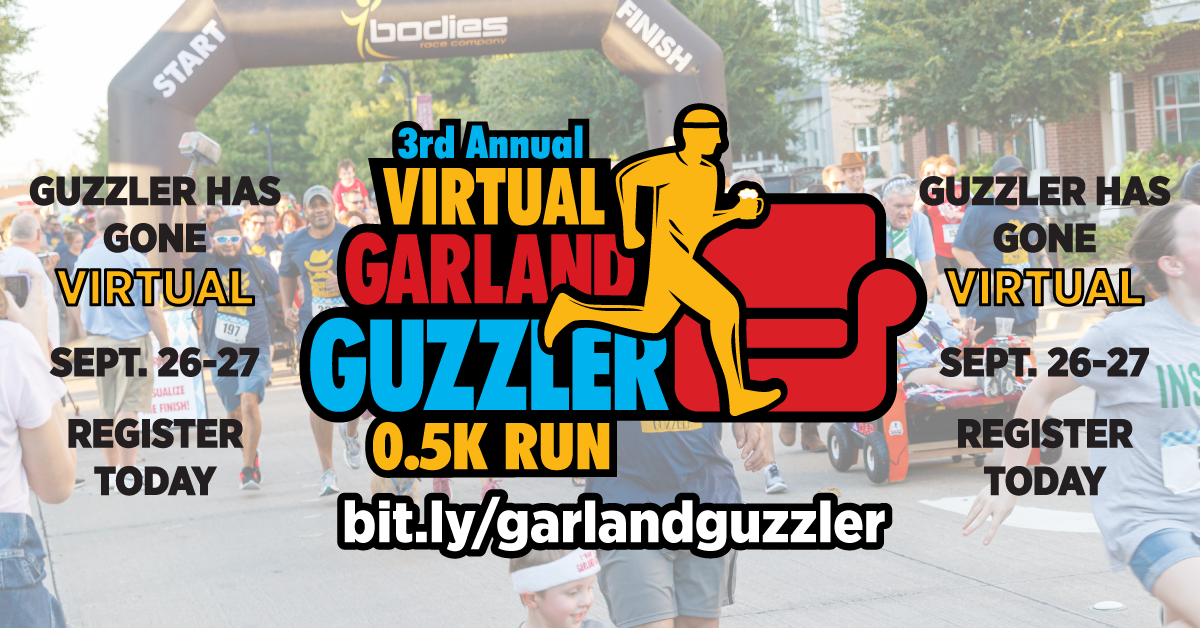 Guzzler logo with runners in the back ground