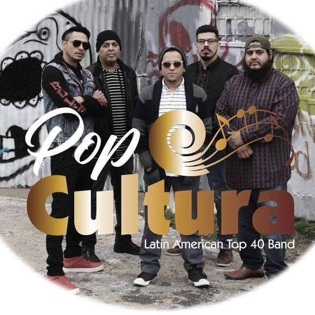 Pop Cultura band, five guys - two on left, one in the middle, two on the right.